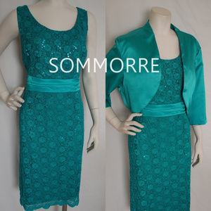 Teal Stealth Lace Dress Satin Bolero Scallops Hem